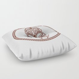 Knotted Viking Dragon Circle Floor Pillow
