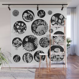 Flowers pattern ink art black and white Wall Mural