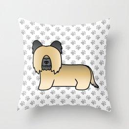 Fawn Skye Terrier Dog Cute Cartoon Illustration Throw Pillow