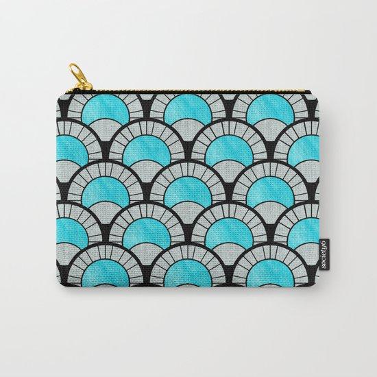 Aqua Art Deco Twenties Fan Pattern Carry-All Pouch