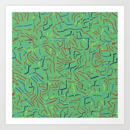 Abstract strokes mint green Art Print