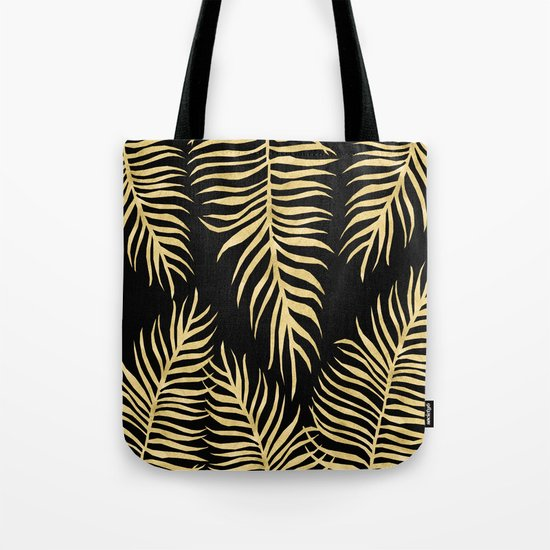 Fern Pattern Gold On Black Background Tote Bag