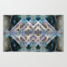 Abstract Multi-Colored Fractal (Night) Rug