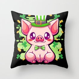 St Patricks Day Pig - Gift Throw Pillow