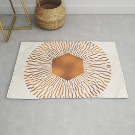Geometric copper sun Rug