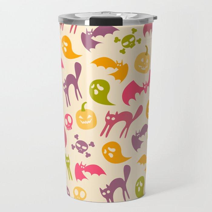 Neon Halloween Pattern - Eggshell Background Travel Mug