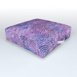 Purple and faux silver swirls doodles Outdoor Floor Cushion