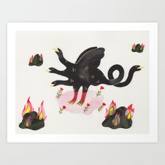 Chimera & Fire Rocks Art Print