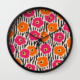 Mid Century Modern Wild Flowers Pattern Pink and Orange Wall Clock