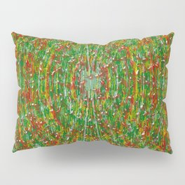 Abstract Green Red Yellow and White Pillow Sham