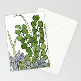Watercolor Woodland Ferns and Violets Delicate Detailed Nature Art Stationery Cards