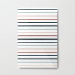 boho stripes - dusty pink and jade Metal Print
