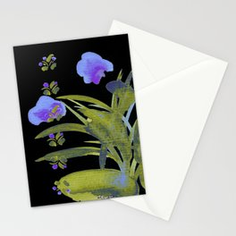 Atom Flowers #34 in purple and green Stationery Cards