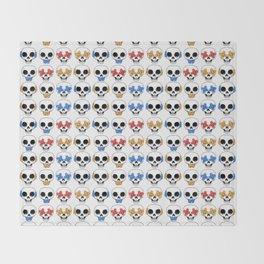 Cute Skulls No Evil II Pattern Throw Blanket