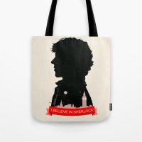 sherlock Tote Bags featuring Sherlock by Duke Dastardly