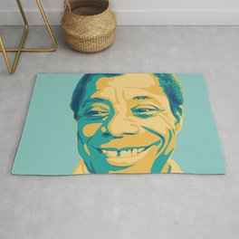 James Baldwin Portrait Teal Gold Blue Rug