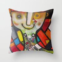 instagram Throw Pillows featuring Miss Instagram  by SheThinksinColors