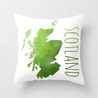scotland Throw Pillows featuring Scotland by Stephanie Wittenburg