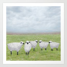 sheep and queen anne's lace Art Print