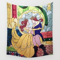 beauty and the beast Wall Tapestries featuring Beauty and the Beast by DisPrints