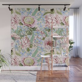 Vintage & Shabby Chic Floral Peony and Iris Flowers Garden Watercolor Pattern Wall Mural