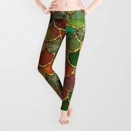Greens & Gold Mermaid Scales Leggings