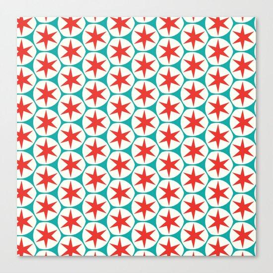 Retro Red Stars Pattern Canvas Print