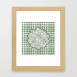 Flower Play Antique Pink Lavender on Green Plaid Framed Art Print