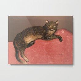 Winter Cat on Cushion Vintage Cat Portrait Metal Print
