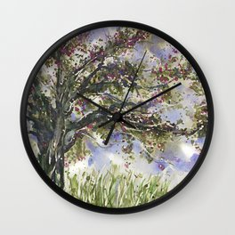 Springtime Fairy Tree watercolor by CheyAnne Sexton Wall Clock