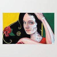 dia de los muertos Area & Throw Rugs featuring Dia de los Muertos by whiterabbitart