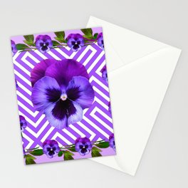 LILAC PURPLE ON PURPLE PANSIES  FLOWERS PATTERNS Stationery Cards