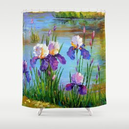 Irises at the pond Shower Curtain