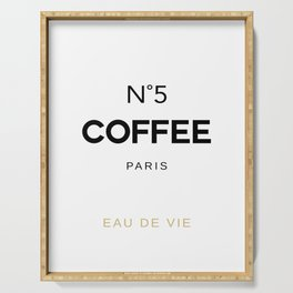 Number 5 Coffee In Paris, Eau De Vie, Water Of Life Quote, Cafe Label Quotes, Large Printable Photo Serving Tray