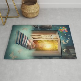 Upstairs to the magic book land. Fantasy collage art. Rug