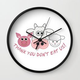 Thank you don't eat us Wall Clock