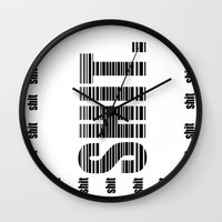 shit Wall Clocks featuring shit by Elle Park