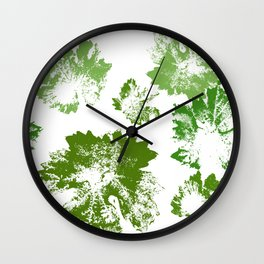 Green leaves stamp Wall Clock
