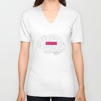 brain V-neck T-shirts featuring Brain by AMOSLIDE