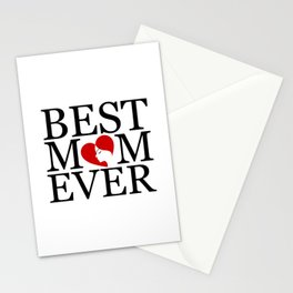 Best mom ever with face of a mother forming a heart- mothers day gifts for mom Stationery Cards