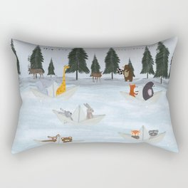 the great paper boat race Rectangular Pillow