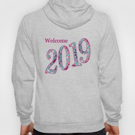 colorful patterned number 2019 on the blue Hoody