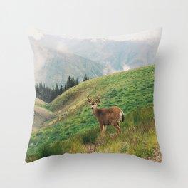Deer at Hurricane Ridge Throw Pillow