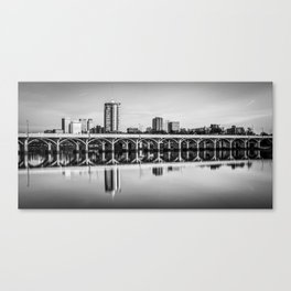 Historic 21st Street Bridge and Tulsa Skyline Panorama - Black and White Canvas Print