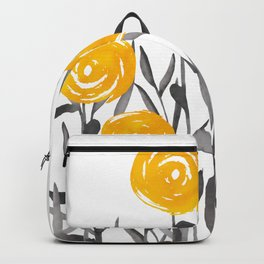 Fall Sunshine, Floral Watercolor Print, Yellow and Gray Backpack