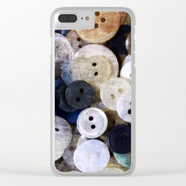 Buttons in grunge style Clear iPhone Case