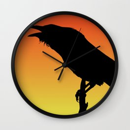 Common Raven Silhouette at Sunset Wall Clock