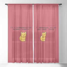 ITS DANGEROUS TO GO ALONE Take This Cat Sheer Curtain