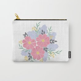 Vintage Pink Flowers Carry-All Pouch