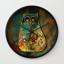 Cute Boho Style cat on paint texture and gold outline Wall Clock